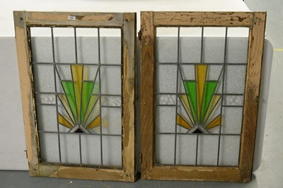 Lot 164 - Pair Art Deco Leaded glass window panels