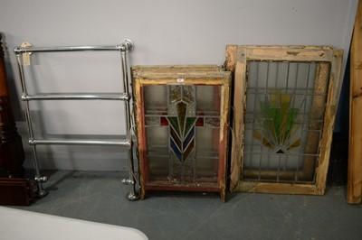 Lot 98 - Various Art Deco leaded glass windows and a chromed towel rail