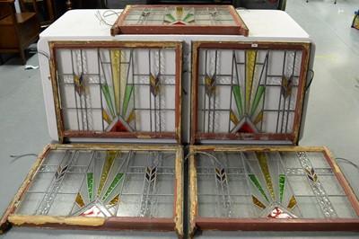 Lot 166 - Five Art deco leaded glass window panels
