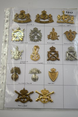 Lot 1217 - A collection of 16 Belgian Corps cap badges.