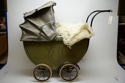 Lot 780 - Early 20th C doll's pram, two dolls and two soft toys.