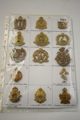 Lot 1221 - A collection of 14 Australian metal cap badges.