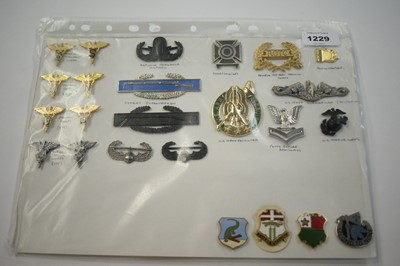 Lot 1229 - A collection of 24 American metal Insignia badges.