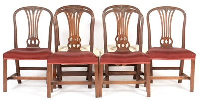 Lot 848 - Set of six late George III hoop back dining chairs