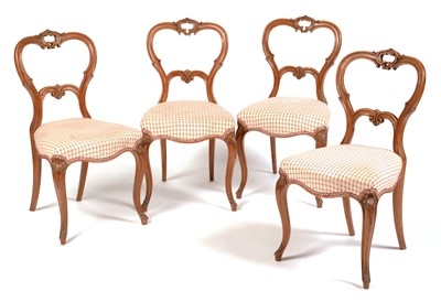 Lot 850 - Set of four Victorian walnut chairs
