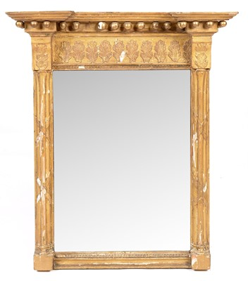 Lot 779 - A 19th C breakfront giltwood pier mirror.
