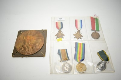 Lot 431 - WWI commemorative plaque; and other medals.