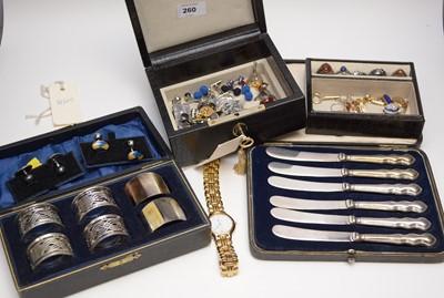 Lot 260 - A selection of gentlemen's cufflinks and shirt studs