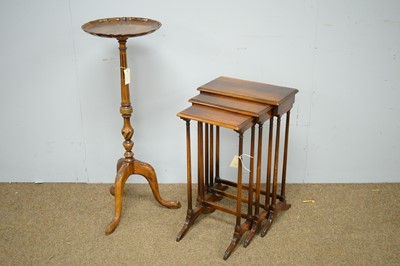 Lot 17 - Nest of three tuck-away tea tables; and a mahogany jardiniere stand.
