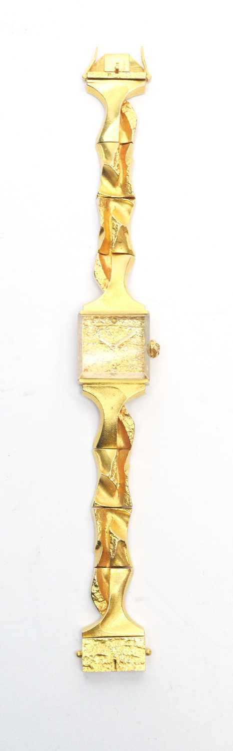 Lot 124 - Lapponia 18ct yellow gold cocktail watch