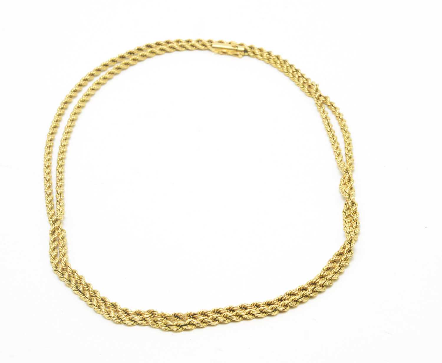 Lot 62 - A fine Egyptian 18ct. yellow gold chain necklace.