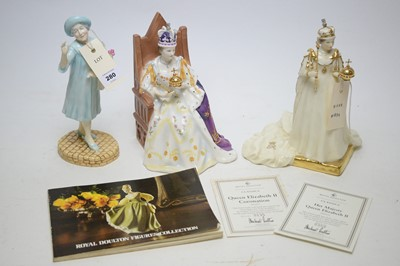 Lot 280 - Royal Doulton models of Queen Elizabeth II, and The Queen Mother.