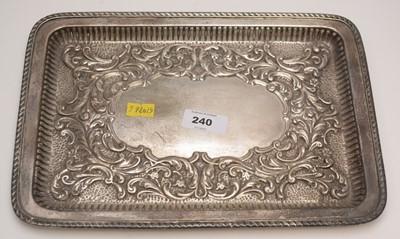 Lot 240 - Rectangular silver tray.