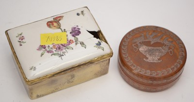 Lot 244 - 19th C silver-gilt and porcelain snuff-box.