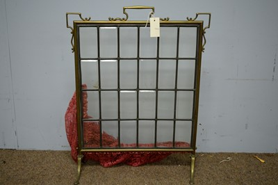 Lot 63 - Early 20th Century brass and glazed firescreen
