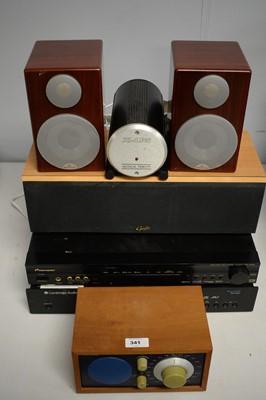 Lot 341 - Amplifier, audio teak speakers; etc.