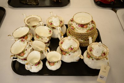 Lot 407 - A Royal Albert Old Country Roses pattern tea service