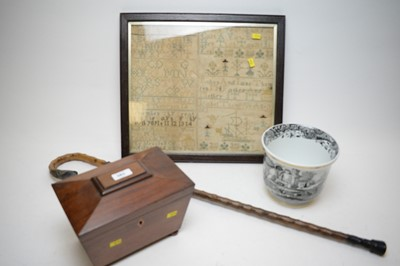 Lot 383 - Tea caddy, sampler, cachepot, and silver-mounted cane.