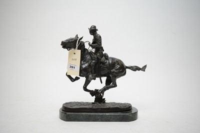 Lot 391 - After Frederick Remington - Cavalryman on galloping horse.