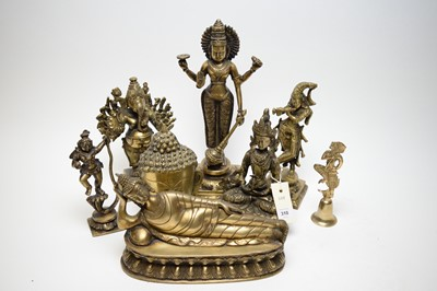 Lot 310 - Eight repro Indian/South East Asia brass figures of deities.