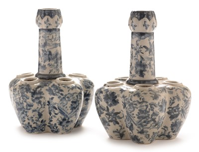 Lot 418 - Pair of Chinese bulb vases