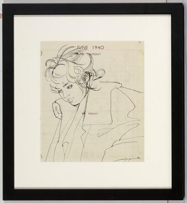 Lot 957 - Studio of Robert Oscar Lenkiewicz - pen and ink