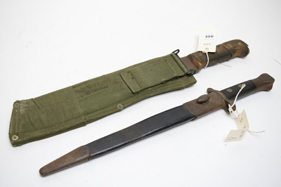 Lot 444 - Lee Enfield rifle bayonet; and Martindale Military Issue machete.