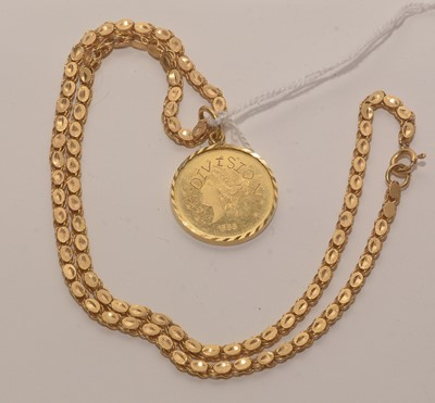 Lot 196 - Yellow metal coin.