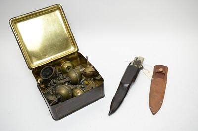 Lot 423 - A folding Knife; Fagan throwing knife; AA car badge; and other metalware.