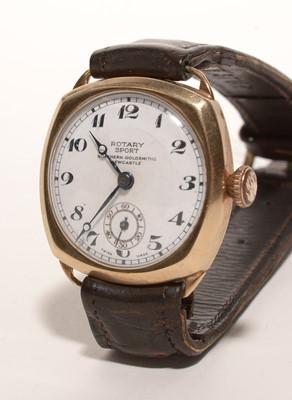 Lot 188 - (ct. yellow gold Rotary Sport wristwatch.