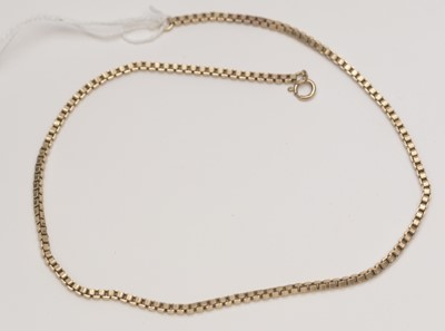 Lot 222 - 9ct. yellow gold box link pattern necklace chain.