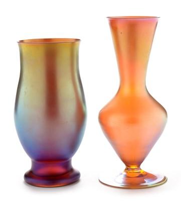 Lot 405 - Two WMF Myra glass vases
