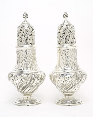Lot 168 - A pair of large Victorian silver casters