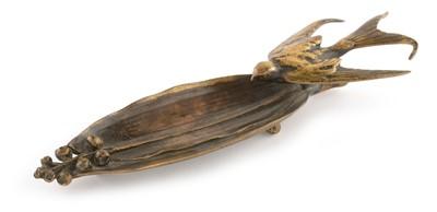 Lot 804 - F.Barbedienne bronze swallow pen tray