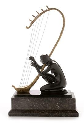 Lot 807 - Hans Muller Bronze harp player