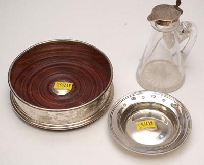 Lot 230 - Silver-mounted whisky tot, pin dish; and presentation coaster.