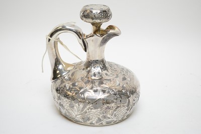 Lot 395 - Silver plate overlay cut glass decanter.