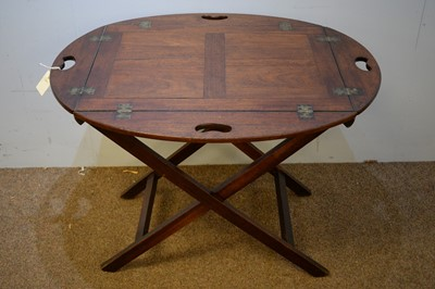 Lot 5 - 19/20th C mahogany butler's tray on stand.