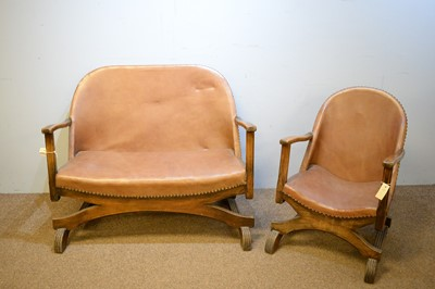 Lot 86 - Early 20th Century oak framed settee and chair