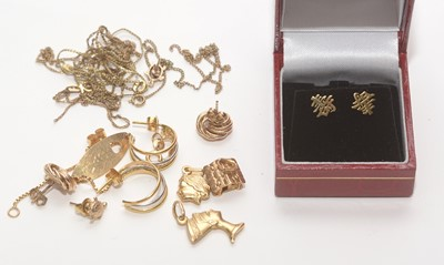 Lot 203 - A collection of gold items.