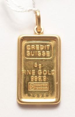 Lot 206 - A credit Suisse fine gold ingot.
