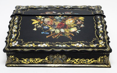 Lot 790 - A 19th Century black lacquered writing slope.