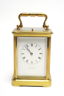 Lot 769 - A late 19th Century brass cased repeater carriage clock.