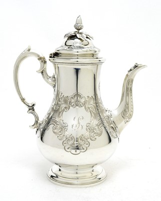 Lot 150 - An early Victorian silver coffee pot.