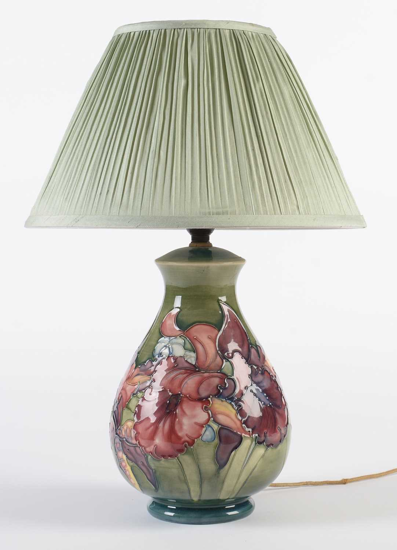 Lot 701 - Moorcroft Iris pattern lamp