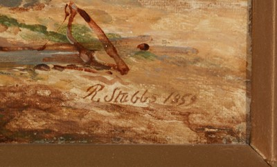 Lot 378 - R* Stubbs (19th Century) A beached fishing...