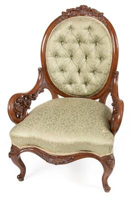 Lot 879 - Victorian mahogany show frame nursing chair