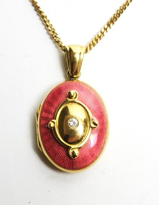 Lot 19 - An 18ct gold, enamel and diamond locket pendant