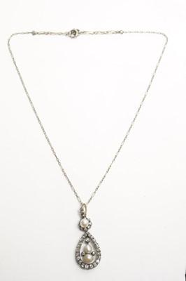 Lot 29 - A Victorian pearl and diamond pendant