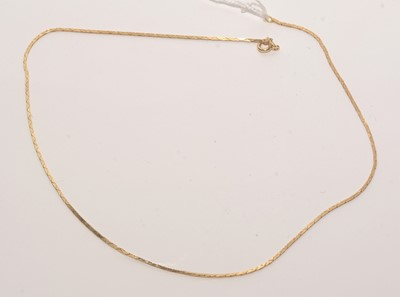 Lot 192 - 18ct. yellow gold snake link necklace.